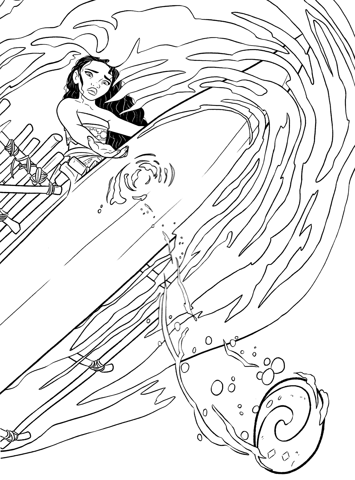 Moana Battling The Waves Coloring Page