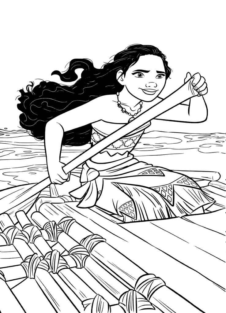 On The Boat Moana Coloring sheets
