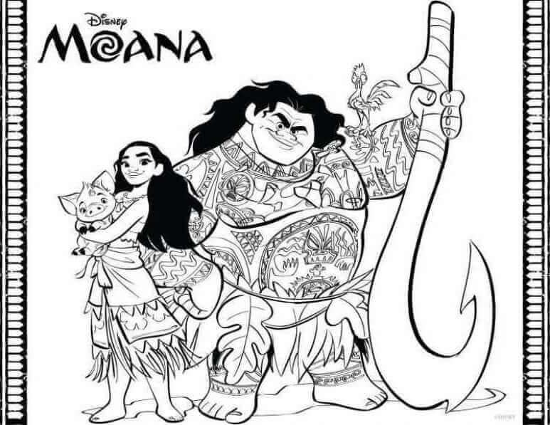 Moana With Her Crew Coloring Page