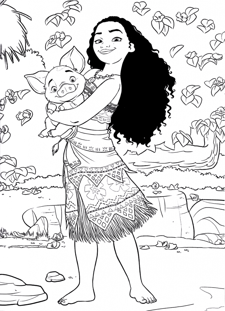 Moana With Pau Moana Coloring Pages