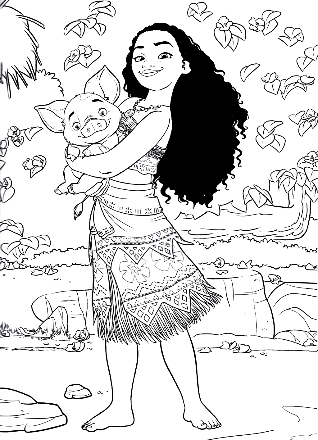 Moana With Pau Coloring Page