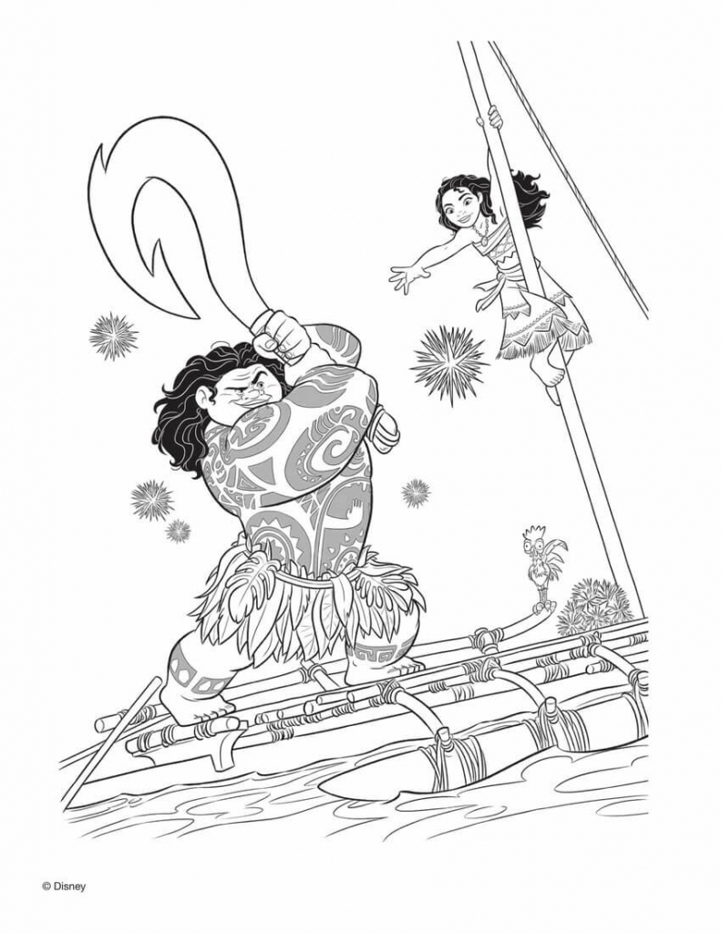 Moana Pestering Maui Coloring Pages