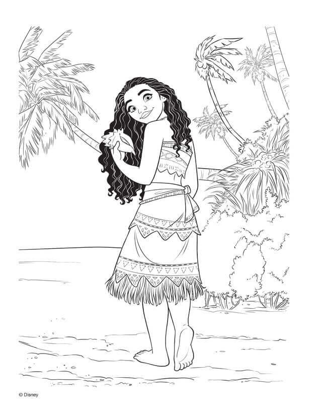 Grown Up Moana With The Shell Moana Coloring Pages