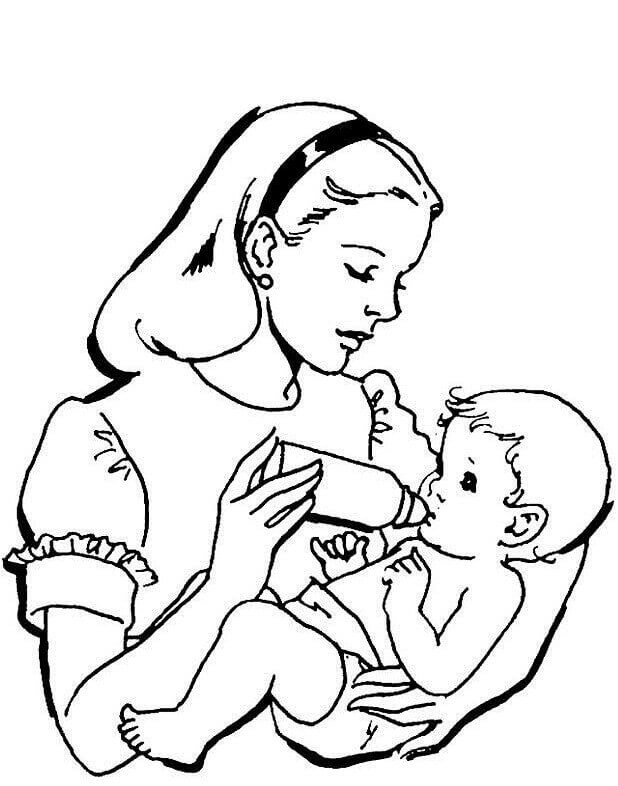 Mother Feeding Her Baby Coloring Page