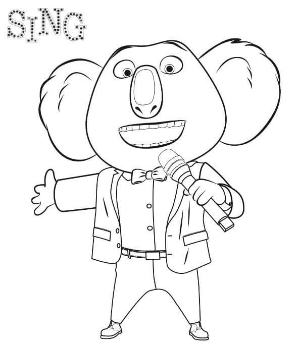 Mr Buster Sing Movie Coloring Page