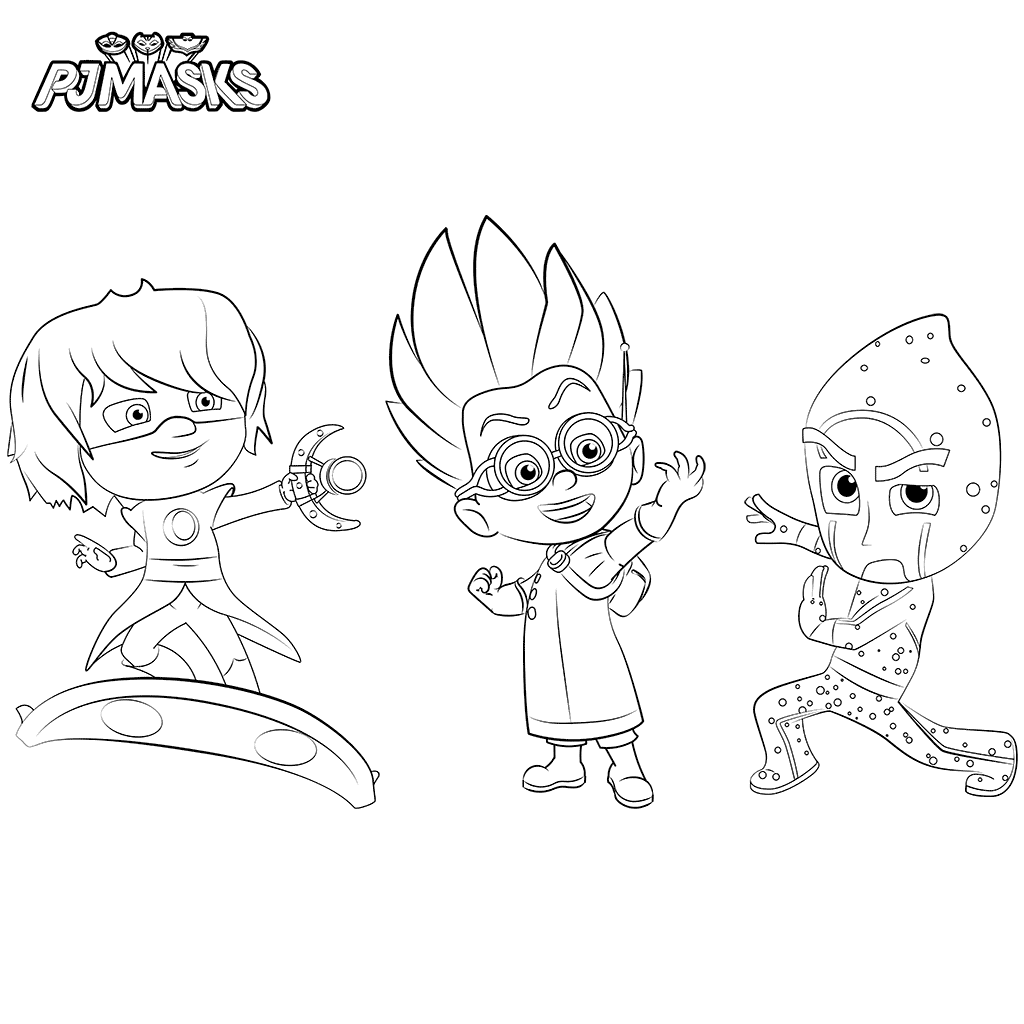 Night Ninja, Luna Girl And Romeo PJ Masks Coloring Page