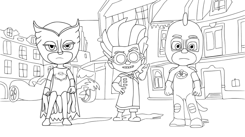 Owlette And Gekko With Romeo PJ Masks Coloring Page