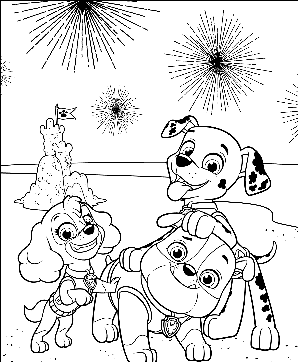 PAW Patrol 4th of July Coloring Page