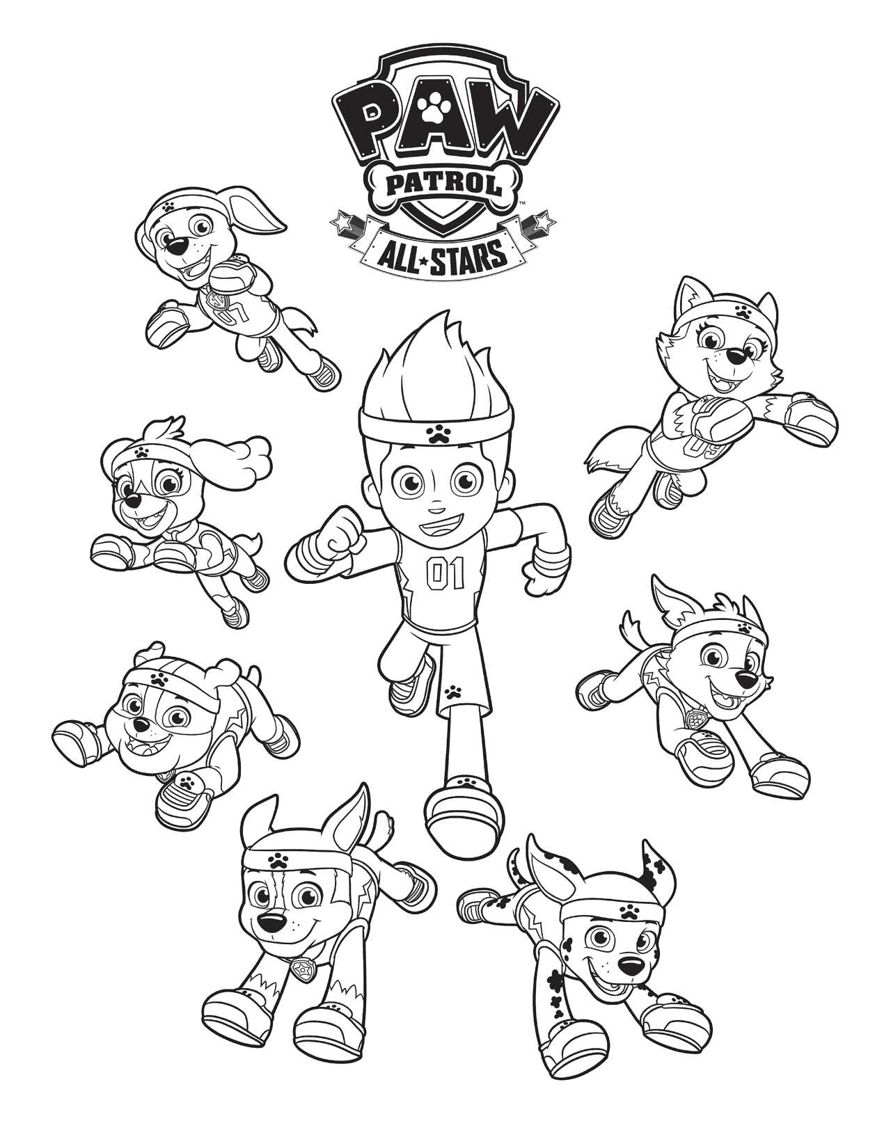 All-Stars Paw Patrol Coloring Page