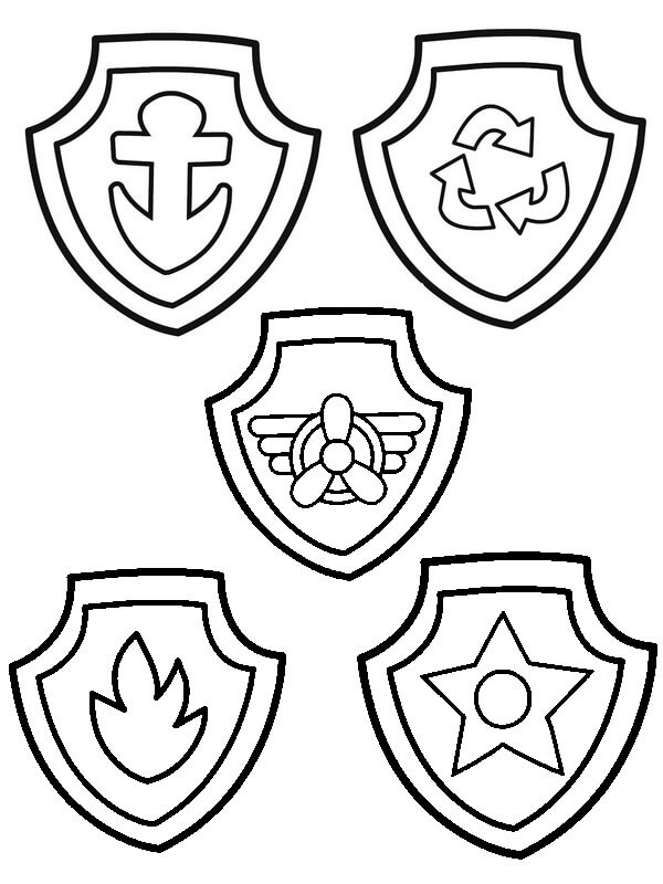 PAW Patrol Badges Coloring Page