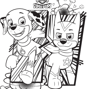 paw patrol super pups chase and marshall coloring page - Paw Patrol Coloring Pages
