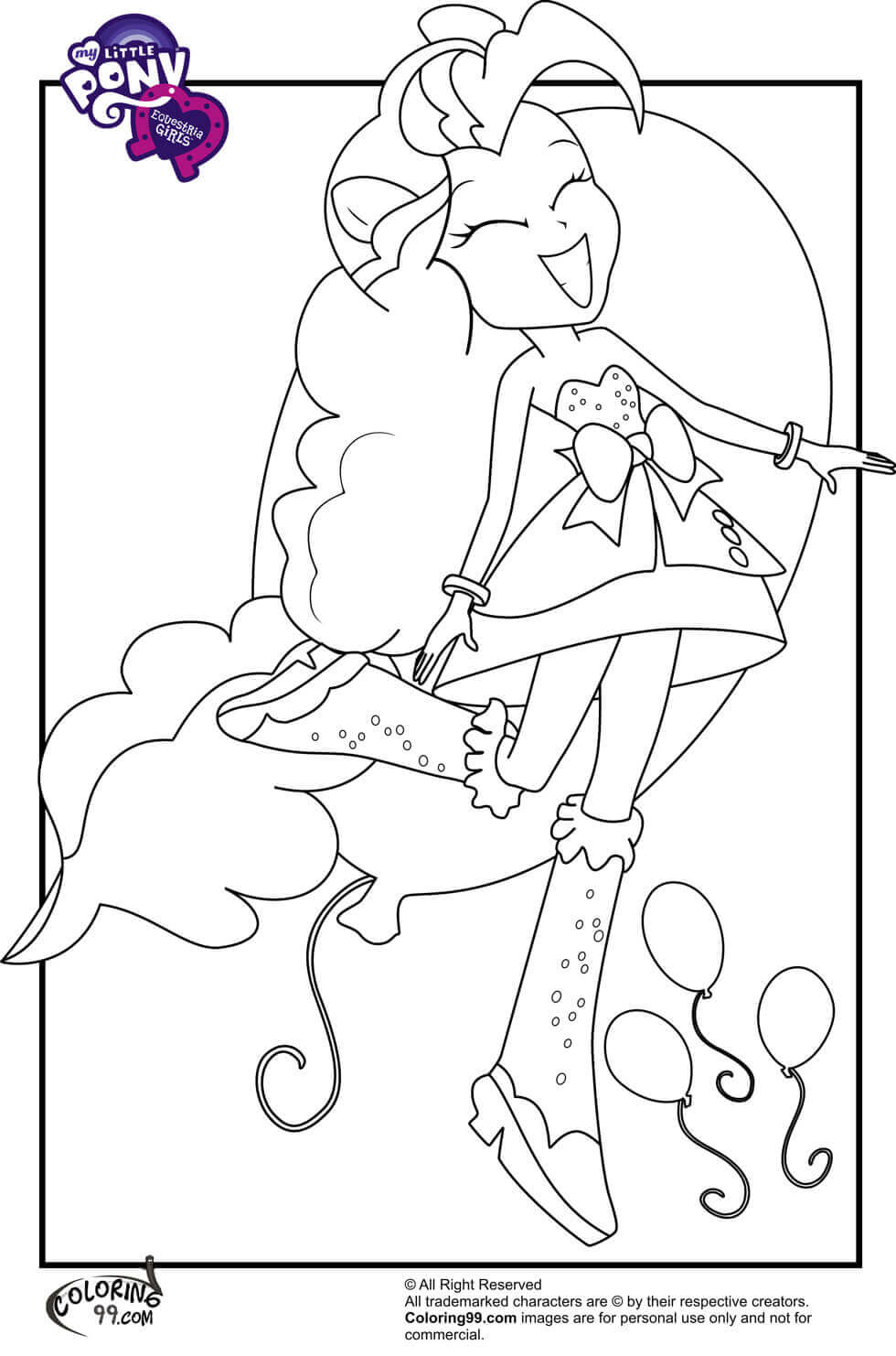 Pinkie Pie From My Little Pony Equestria Girls Coloring Page