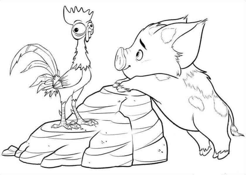 Pua And Heihei Moana Coloring Page