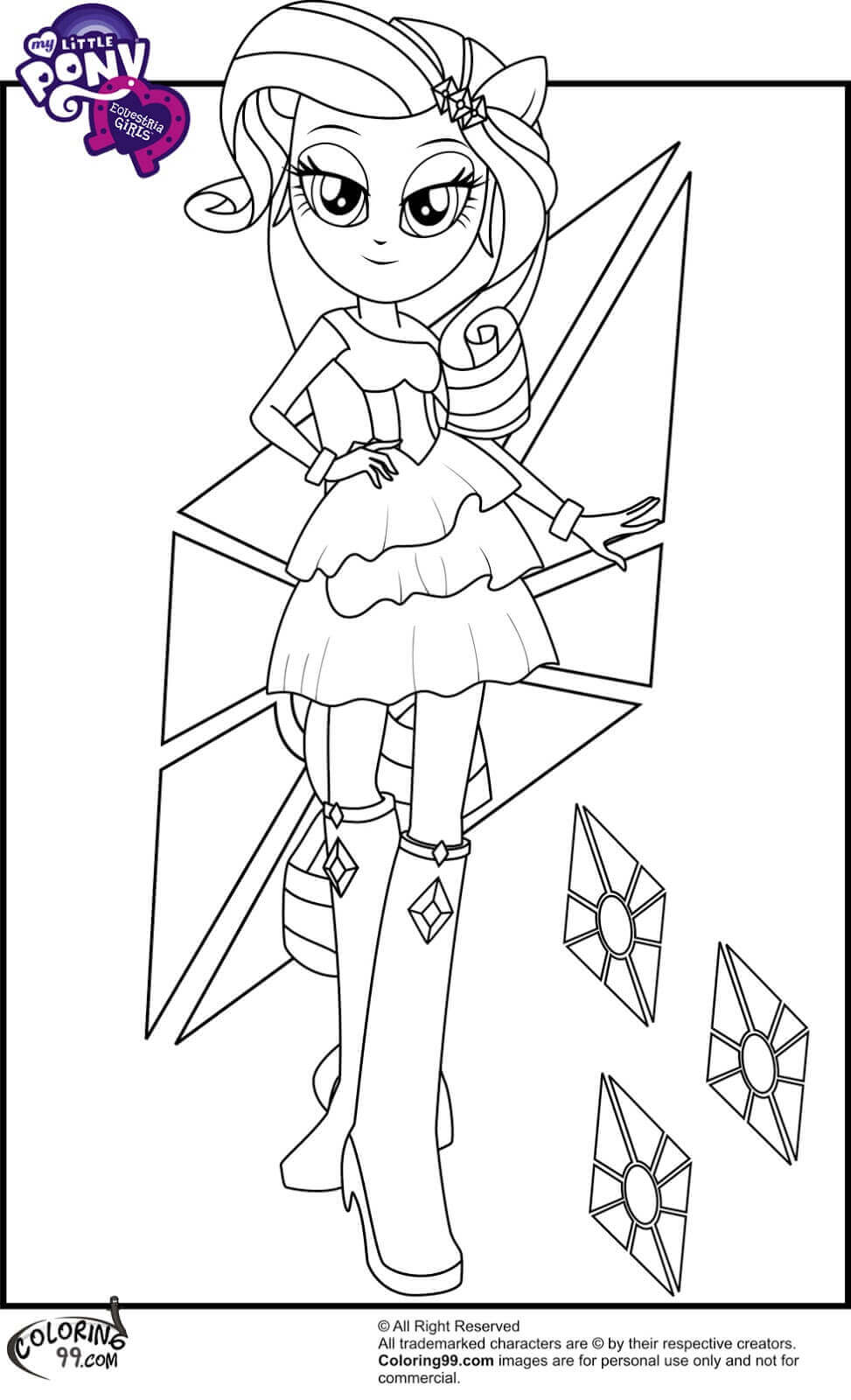 rarity coloring page - Equestria Girls Coloring Pages