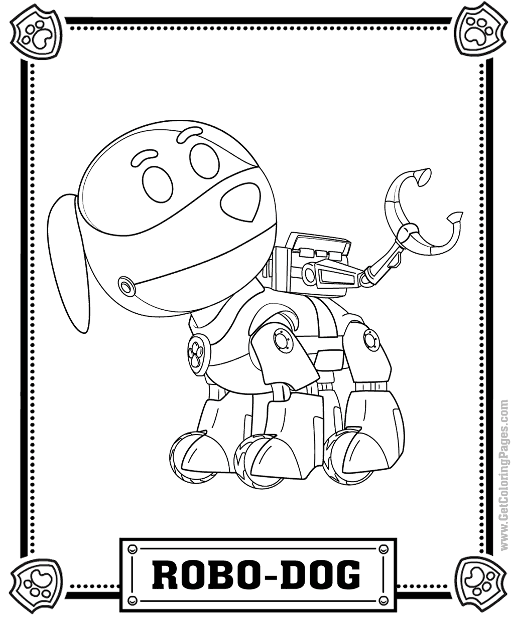 Robo-Dog Paw Patrol Coloring Page