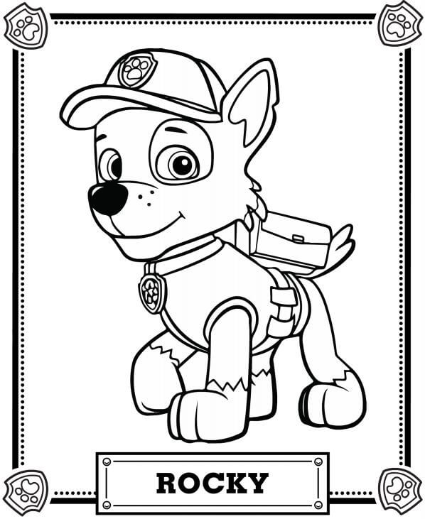 Rocky Paw Patrol Coloring Page