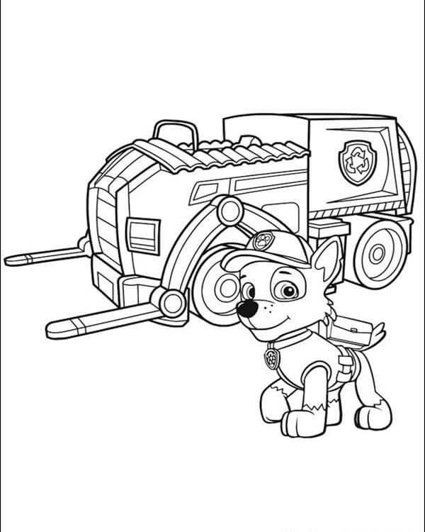 Rocky Posing Paw Patrol Coloring Page