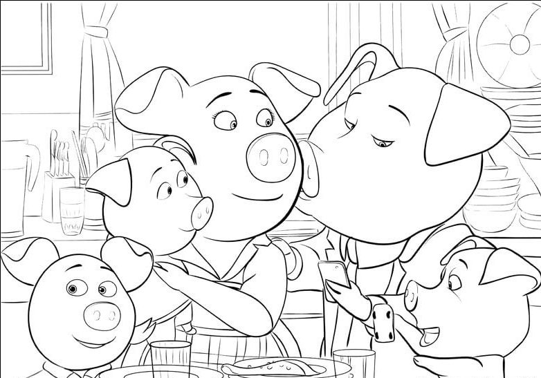 Rosita and 'Norman' With Their Piglets Coloring Page