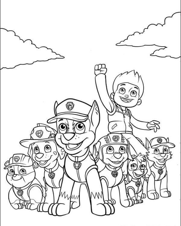 Ryder With The Team Paw Patrol Coloring Page