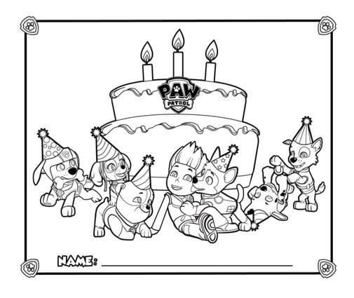 Ryder's Birthday Paw Patrol Coloring Page
