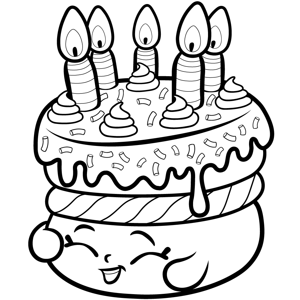 "Shopkins Season 1 Wishes"" Birthday Cake Coloring Page"