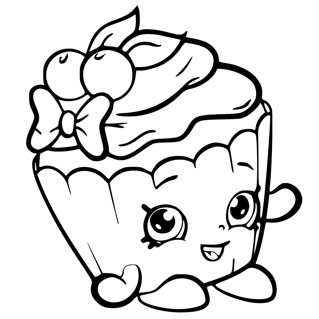 Shopkins Season 6 Cherry Nice Cupcake Coloring Page
