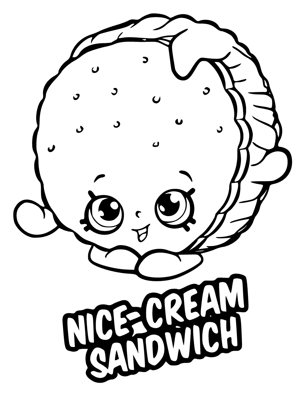 Shopkins Season 6 Nice-Cream Sandwich Coloring Page