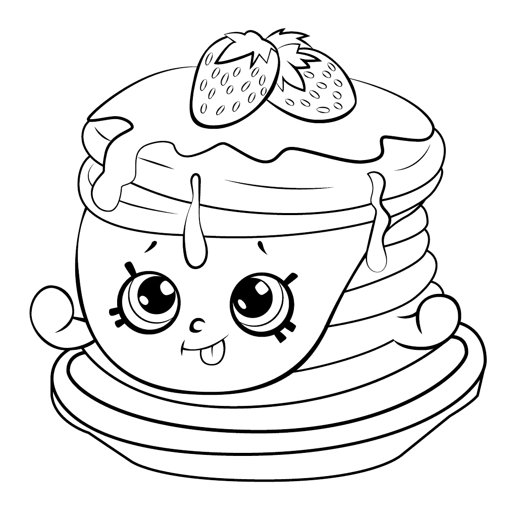Shopkins Season 6 Ultra Rare Strawberry Pancake Coloring Page