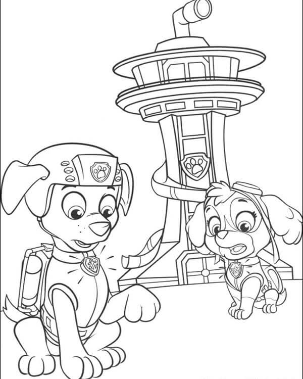 Skye And Zuma Paw Patrol Coloring Page