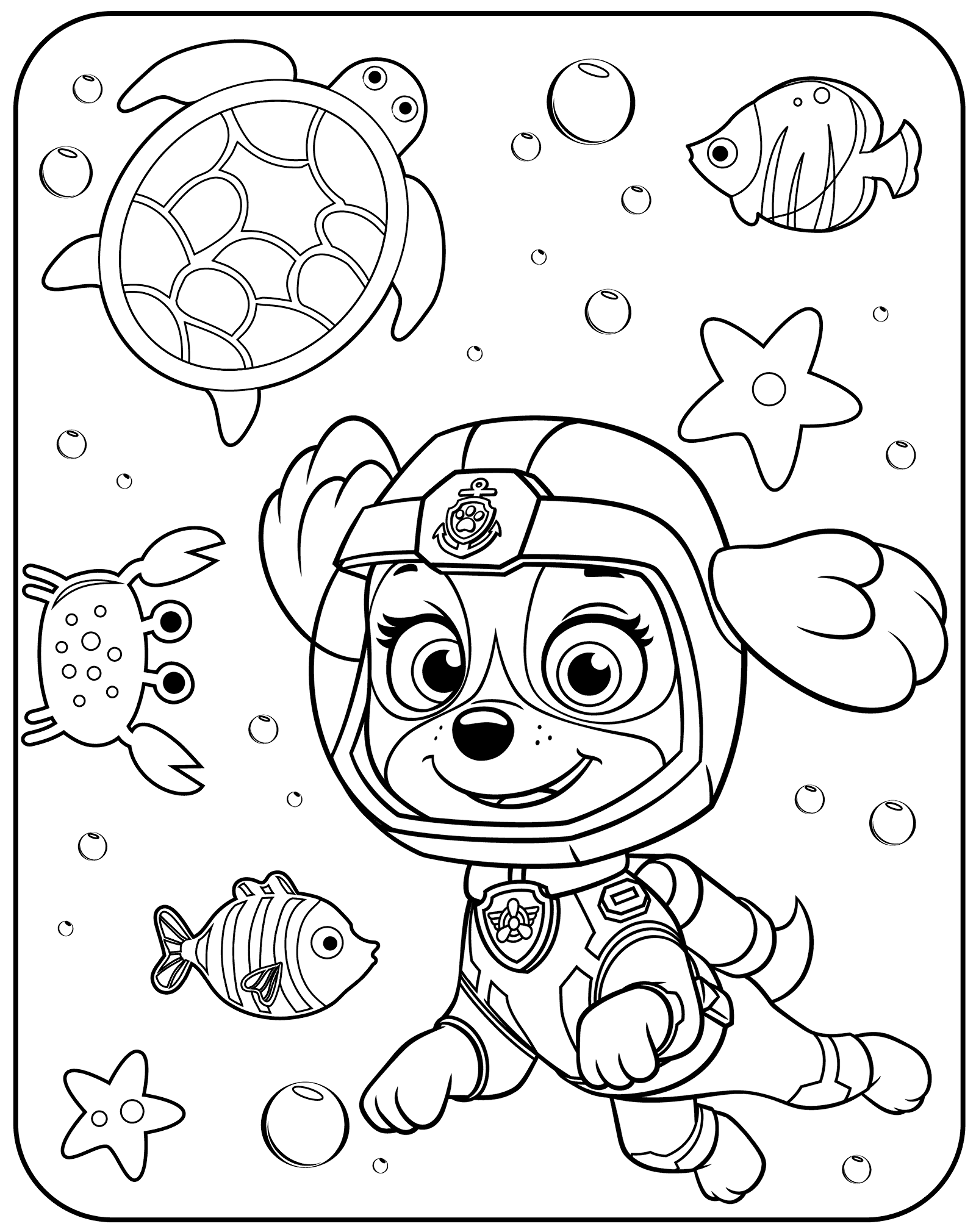 Captivating Skye Underwater Paw Patrol Coloring Page