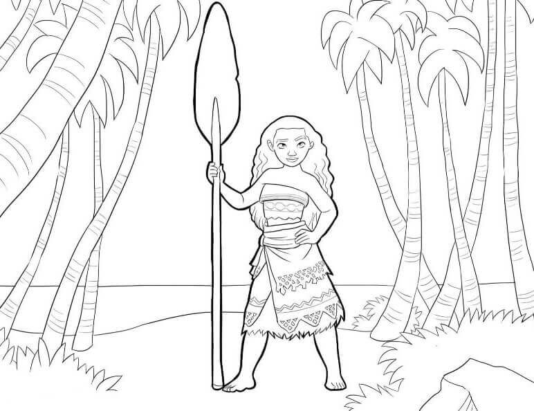 Stealthy Moana Coloring Pages