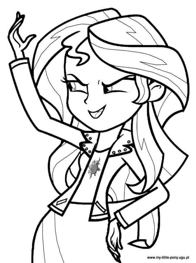 Sunset Shimmer From My Little Pony Equestria Girls Coloring Page