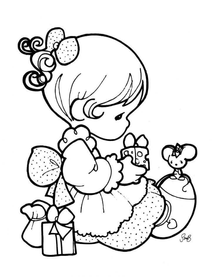 Sweet Baby Girl Coloring Page