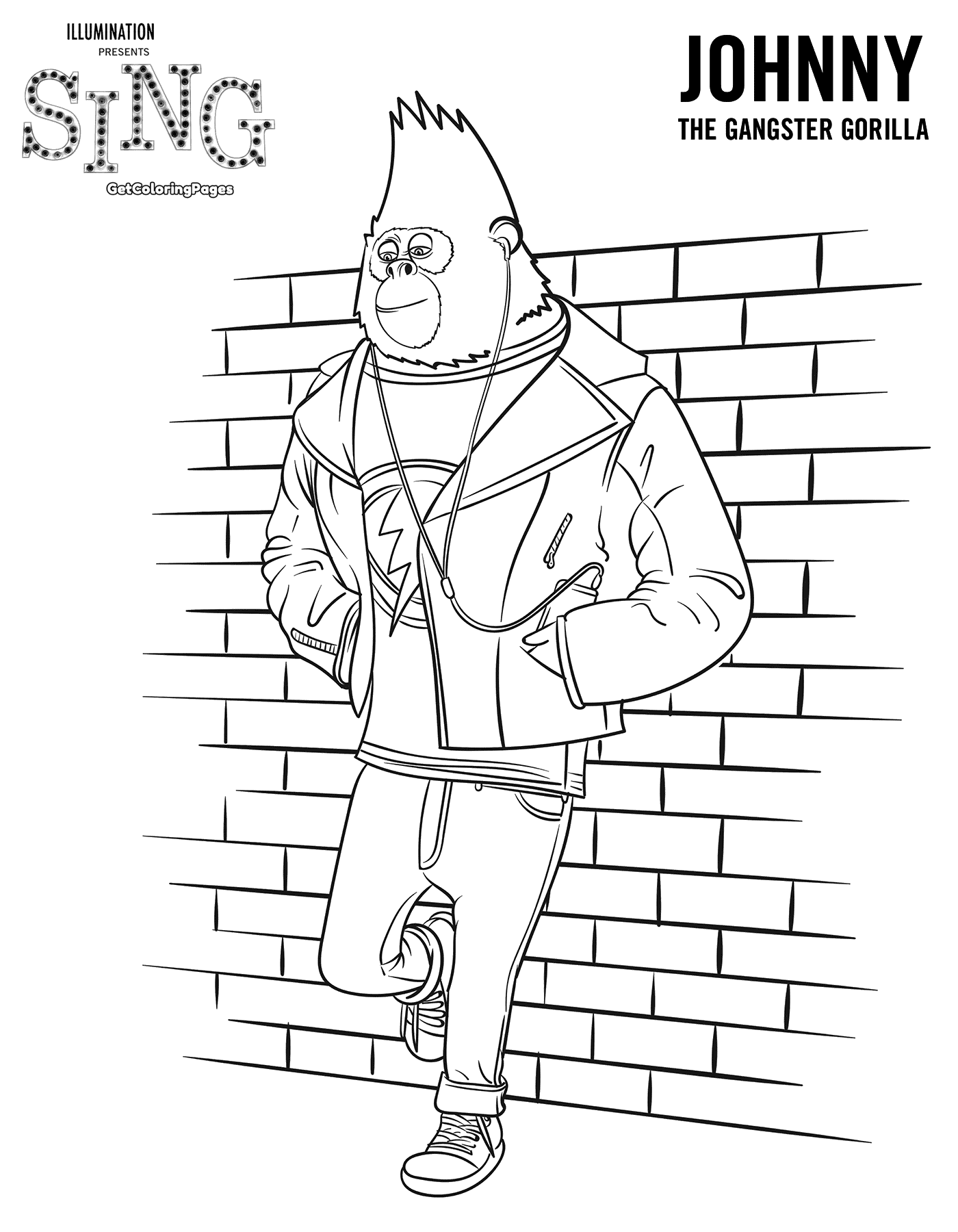 The Gangster Johnny Sing Movie Coloring Page
