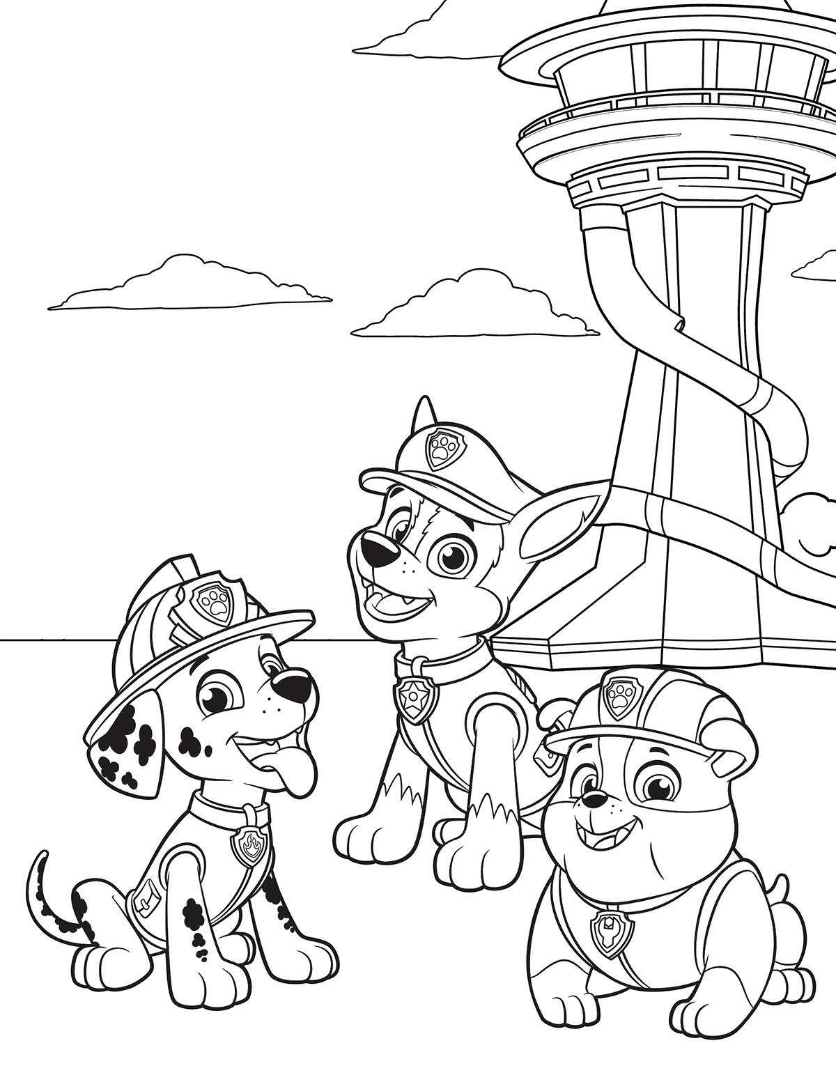 The Happy Pups Paw Patrol Coloring Pages