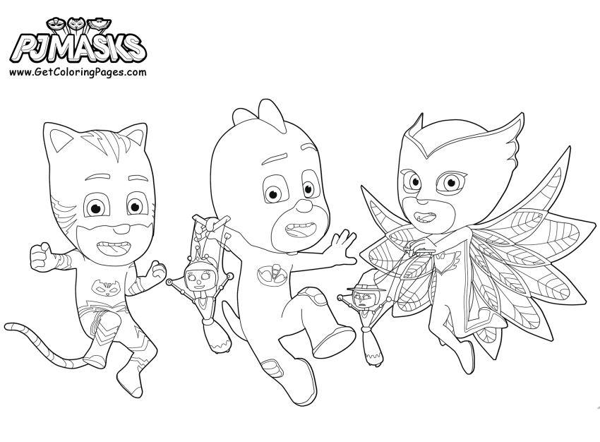 The Happy Trio Coloring Page