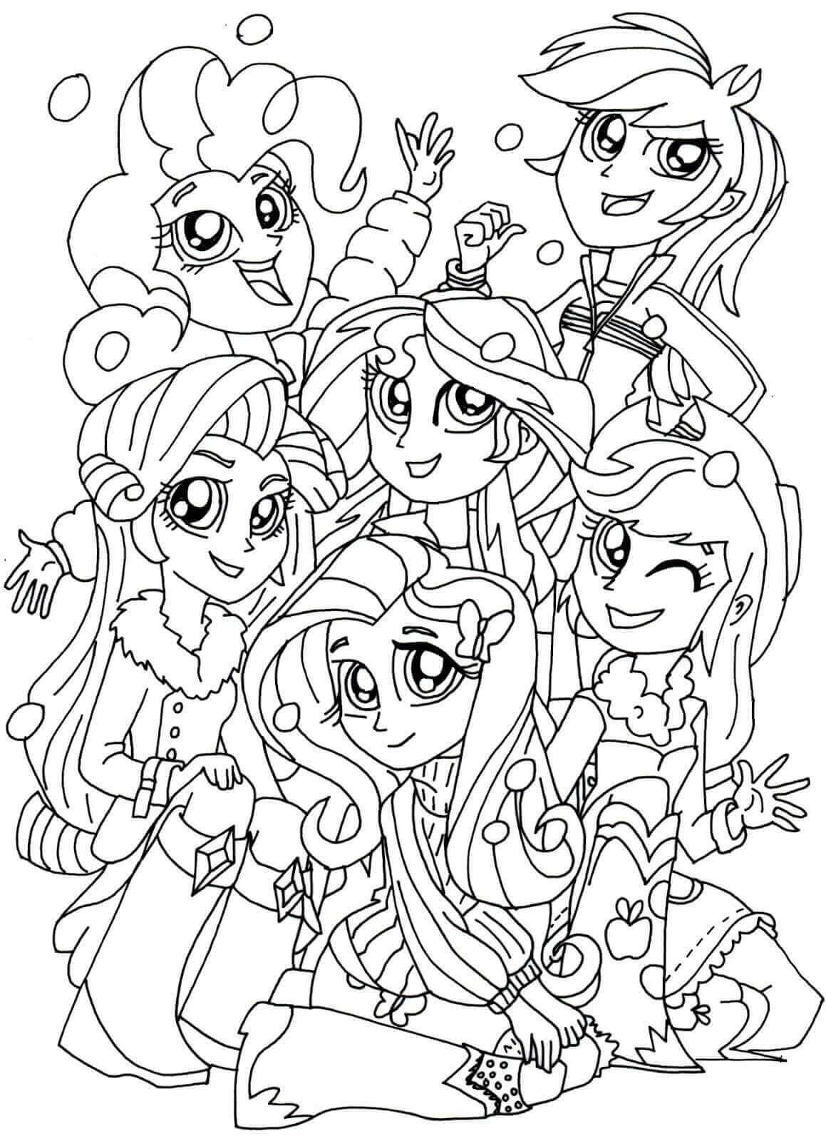 The Rainbooms From My Little Pony Equestria Girls Coloring Page