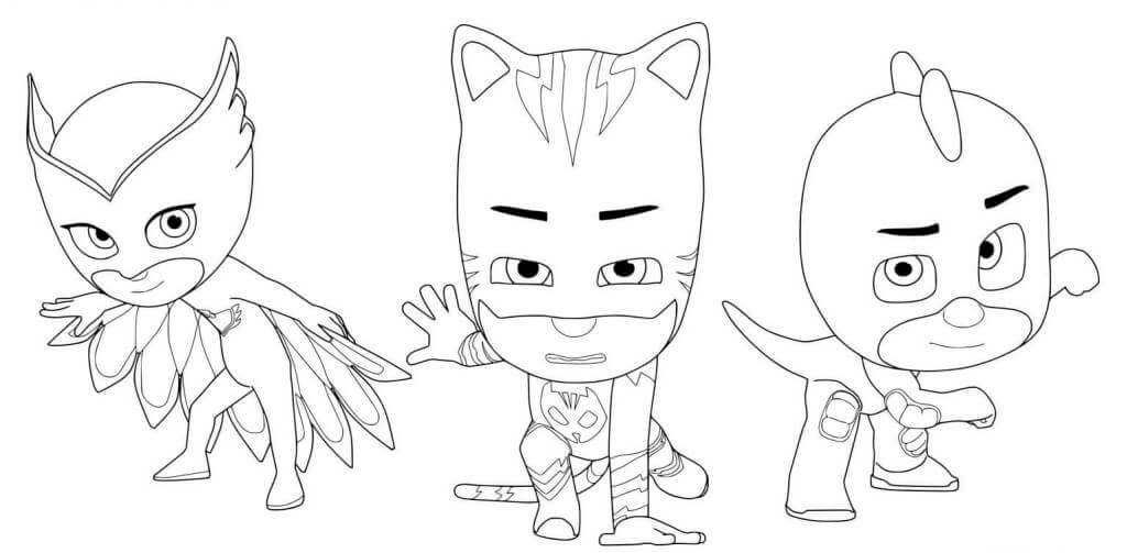 The Strong PJ Mask Gang Coloring Page