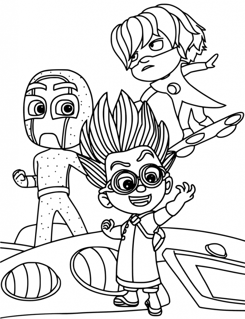 The Villains Of PJ Masks Coloring Page