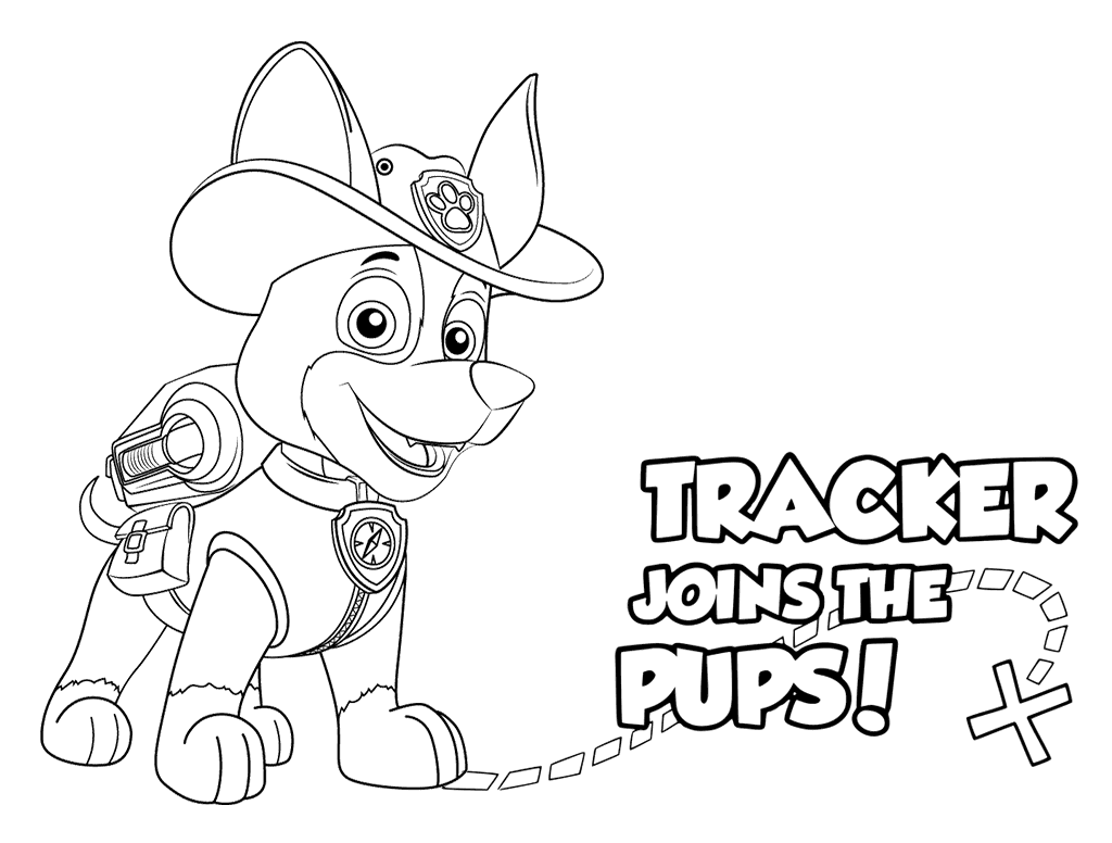 Tracker Joins the Pups Paw Patrol Coloring Page