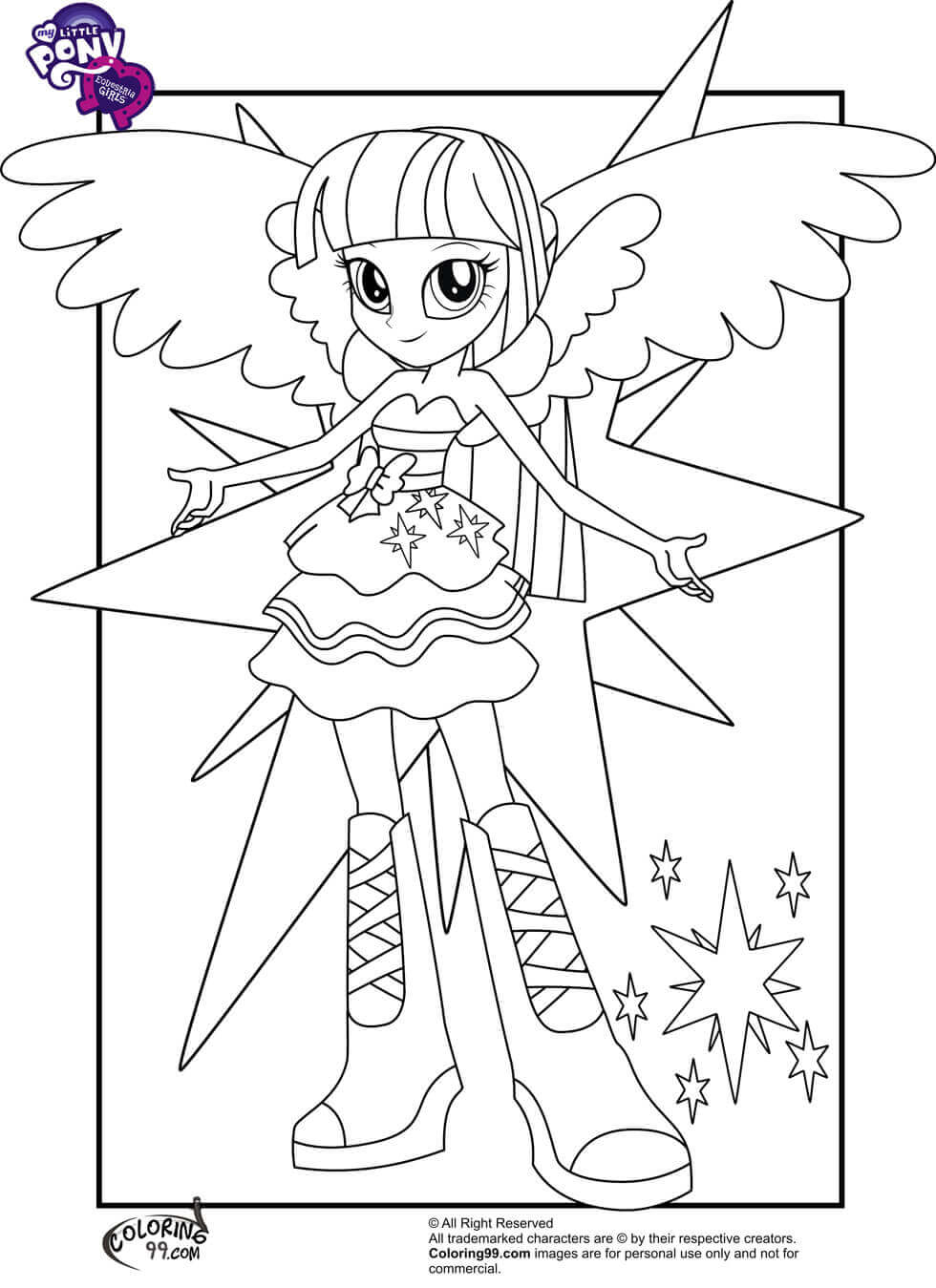 My Little Pony Equestria Girls Coloring Pages on my little pony princess moon