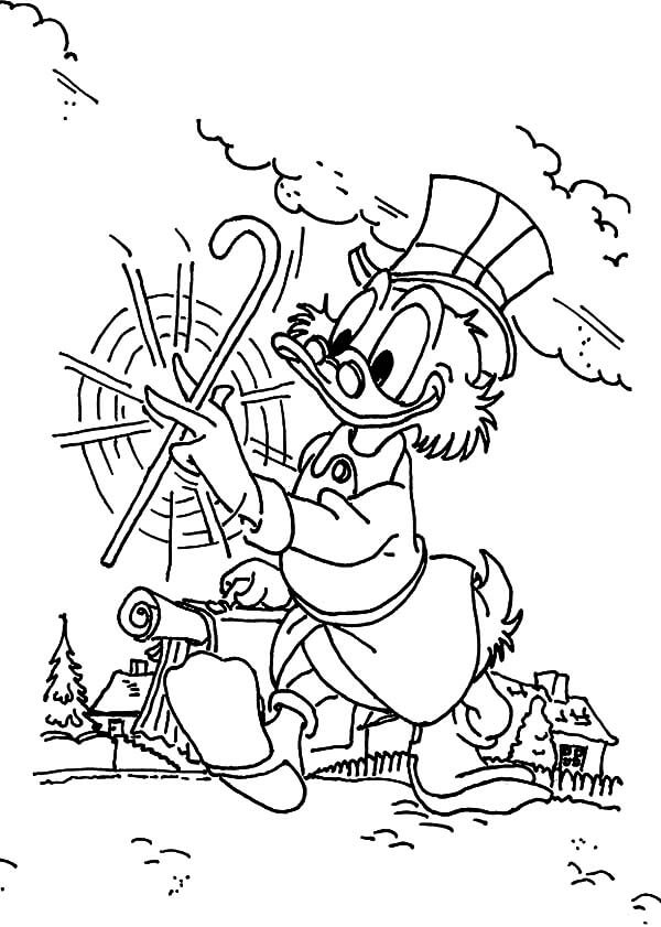 Uncle Scrooge In A Jolly Mood Coloring Page