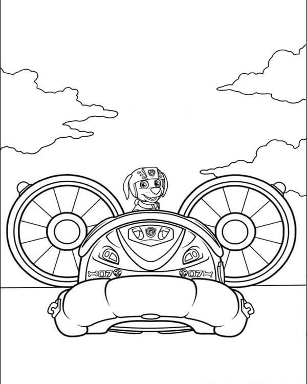 Zuma In The Vehicle Paw Patrol Coloring Page