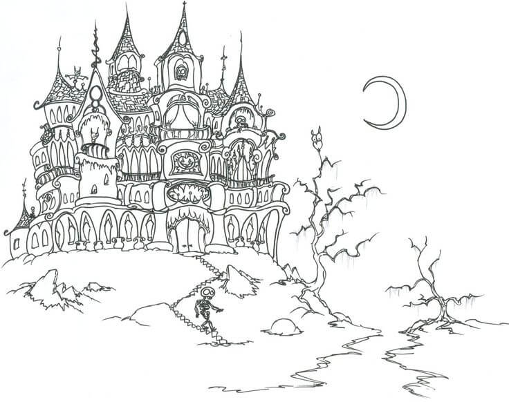 The Haunted House Halloween Coloring Pages