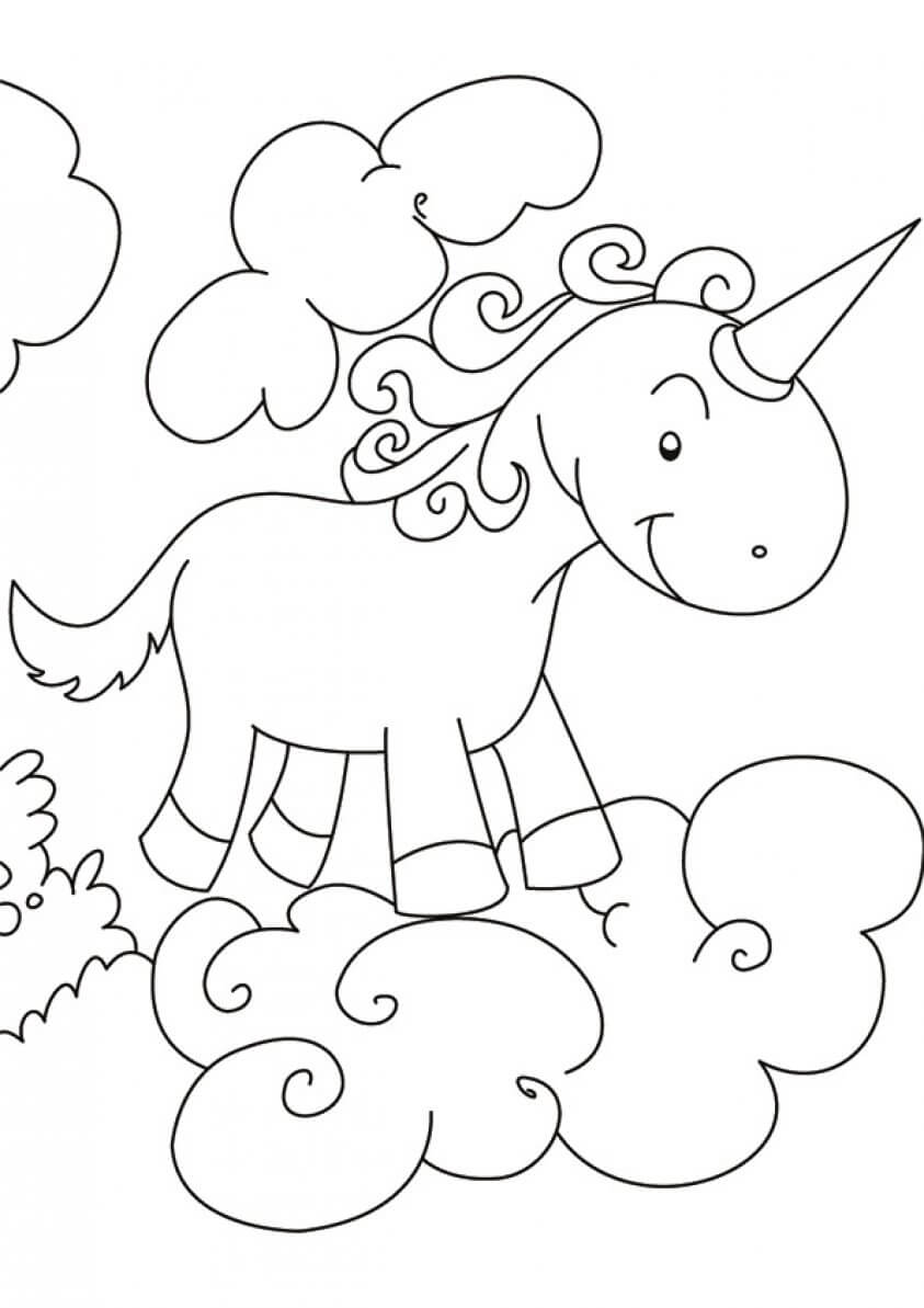 European Unicorn coloring page