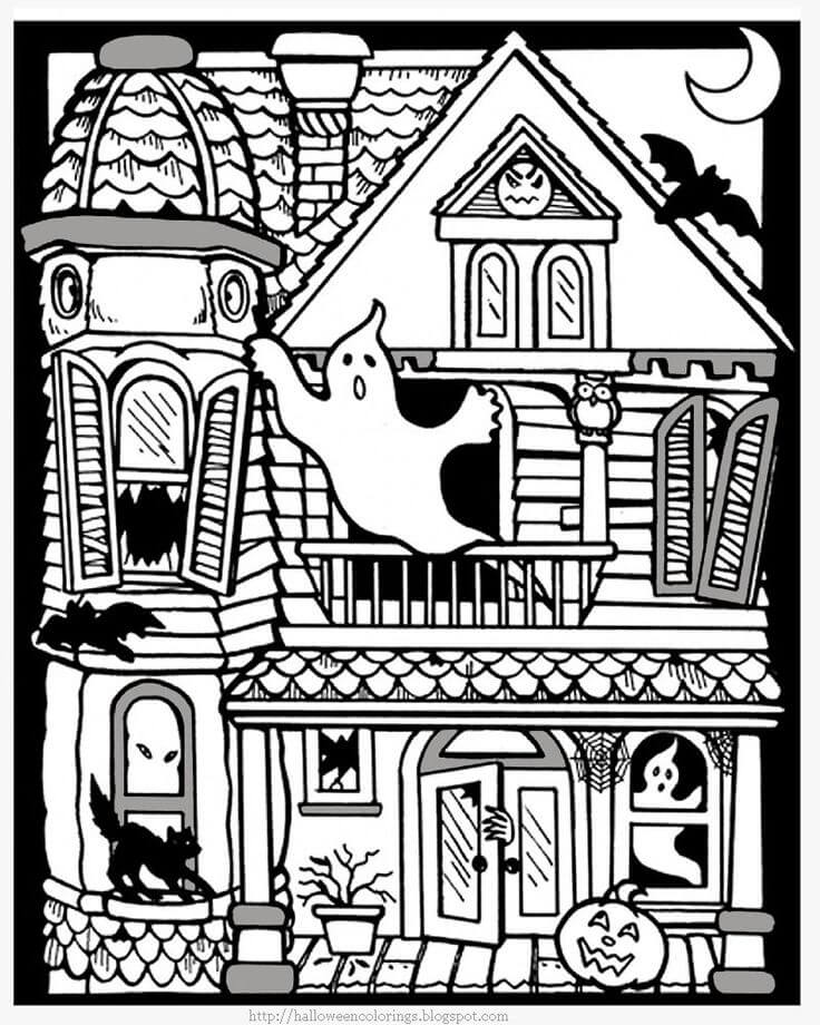 The Ghost House Halloween Coloring Pages