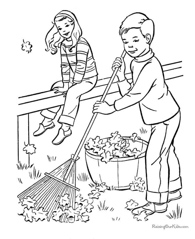 Fallen Leaves Autumn Coloring Pages