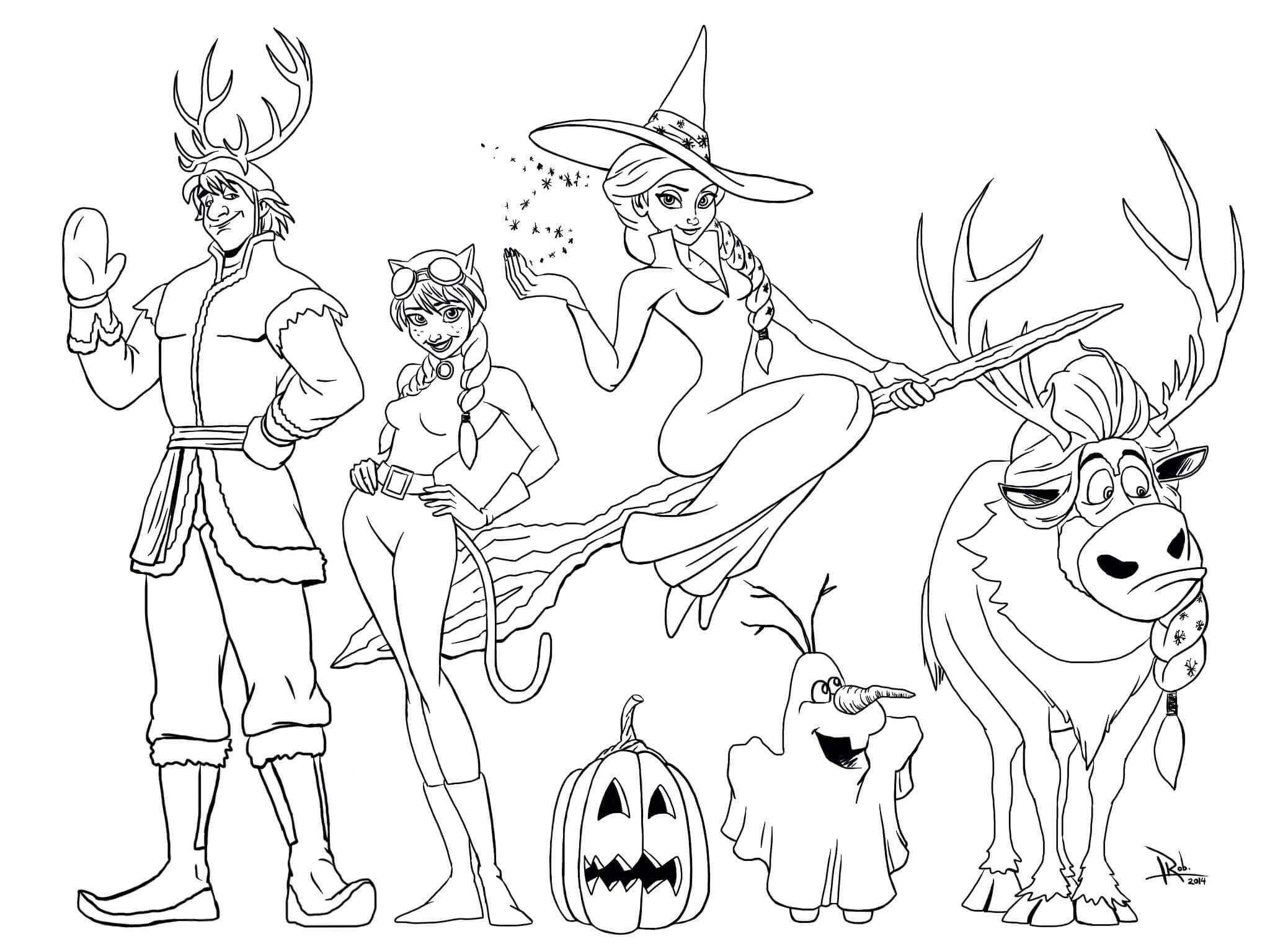Frozen Halloween Avatar Coloring Page