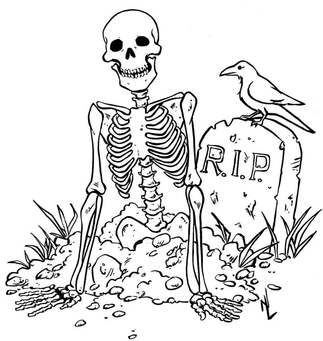 Graveyard Scenes Coloring Page