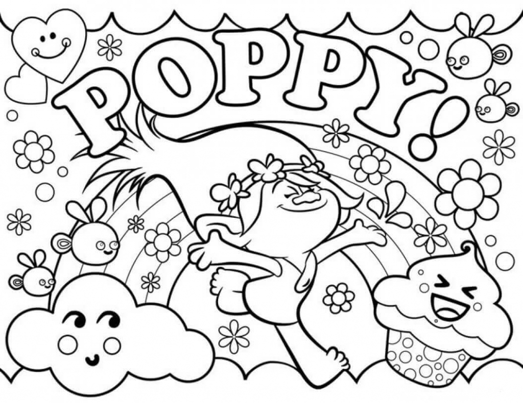 Happy Poppy Trolls Coloring Page